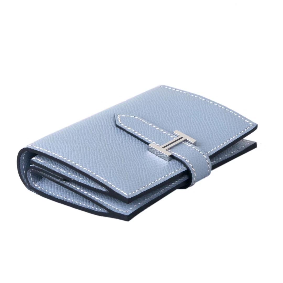 Hermès(爱马仕)Bearn 小H扣 短夹 手包 亚麻蓝 epsom皮