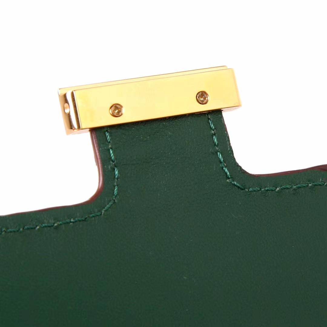 Hermès(爱马仕)小康钱夹 金扣 祖母绿 鳄鱼皮 现货