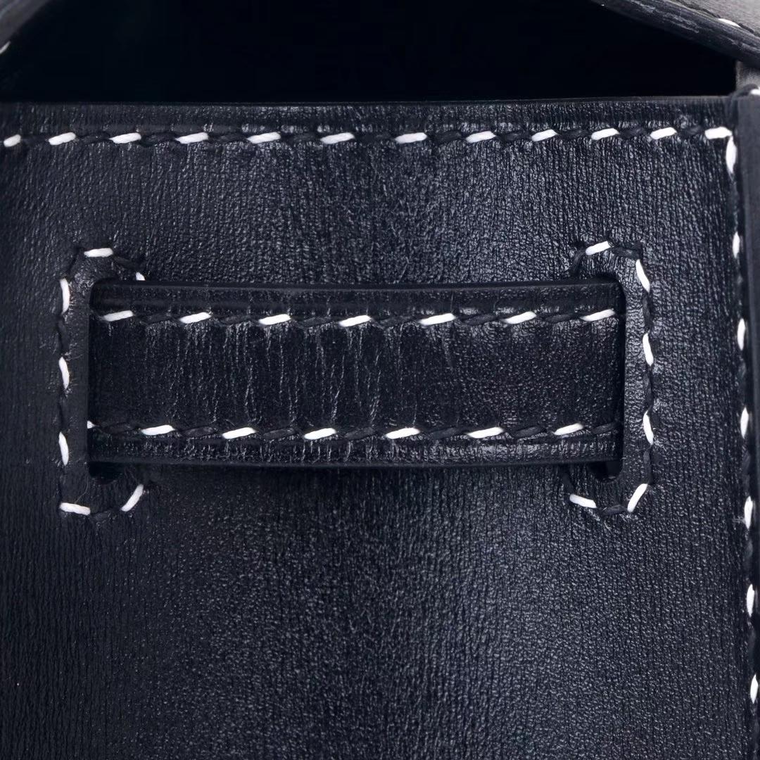 Hermès(爱马仕)miniKelly 一代 黑色 BOX so block+黑白 钢琴走线