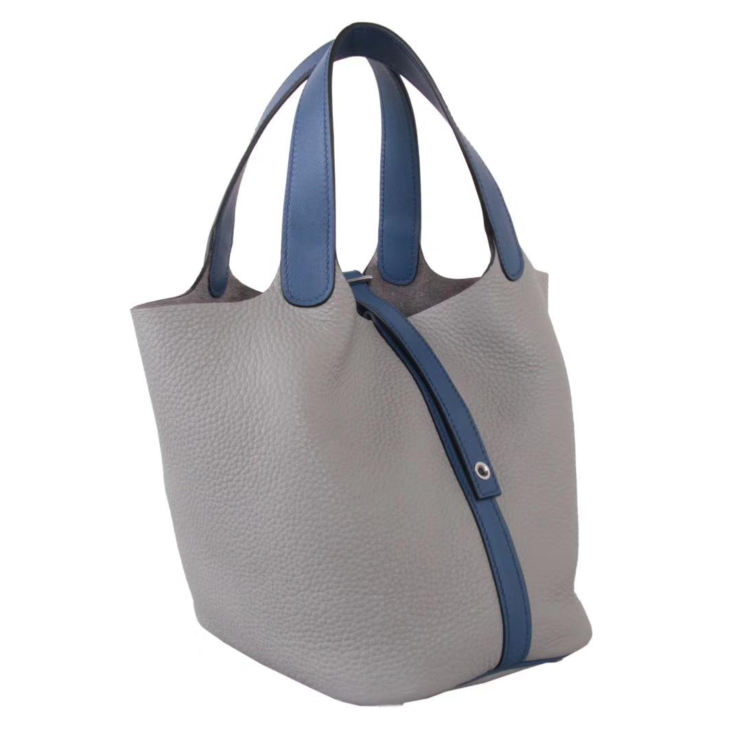 Hermès(爱马仕)Picotin 菜篮包 海鸥灰拼玛瑙蓝 togo 银扣 18cm