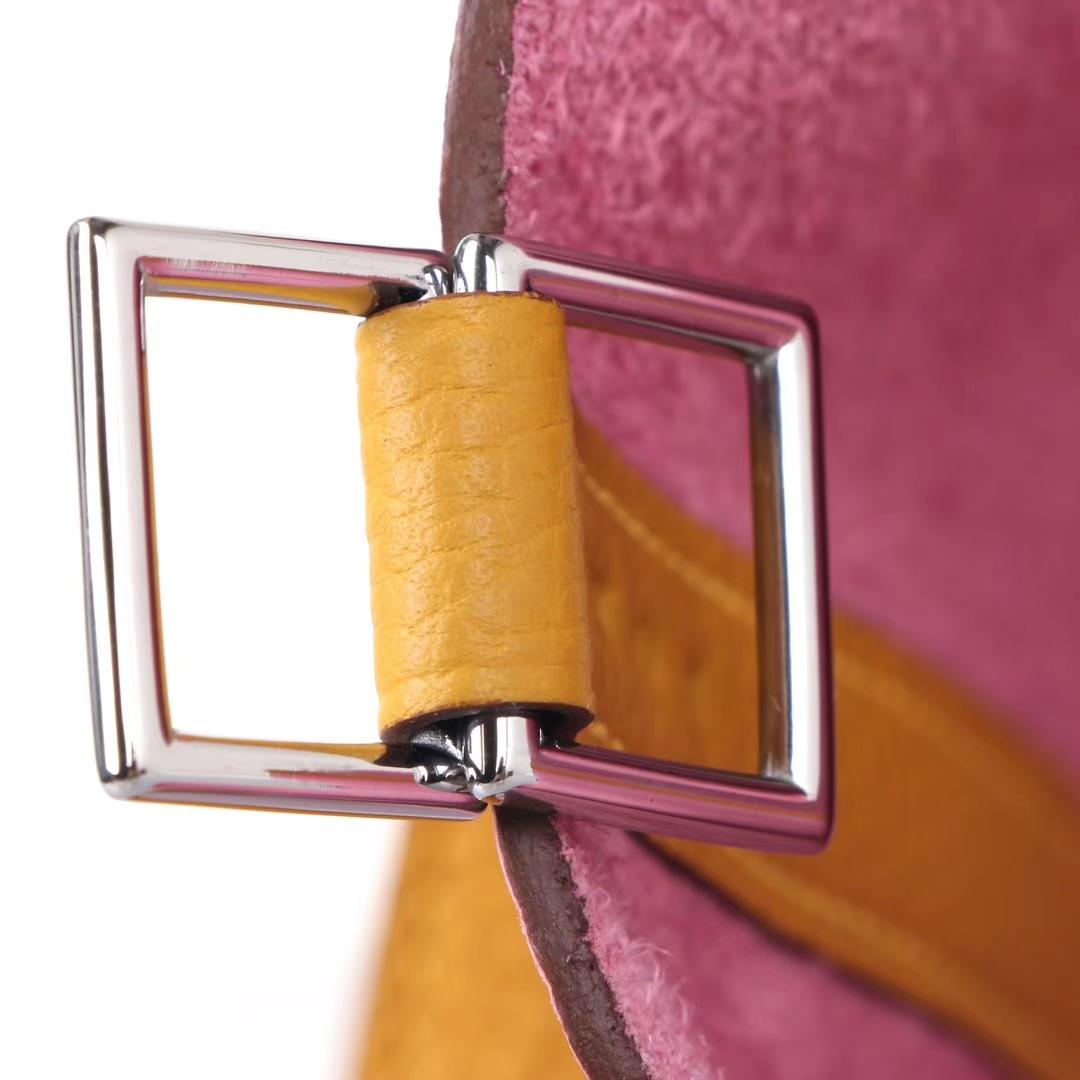 Hermès(爱马仕)Picotin菜篮 樱花粉拼琥珀黄 togo 银扣 18cm