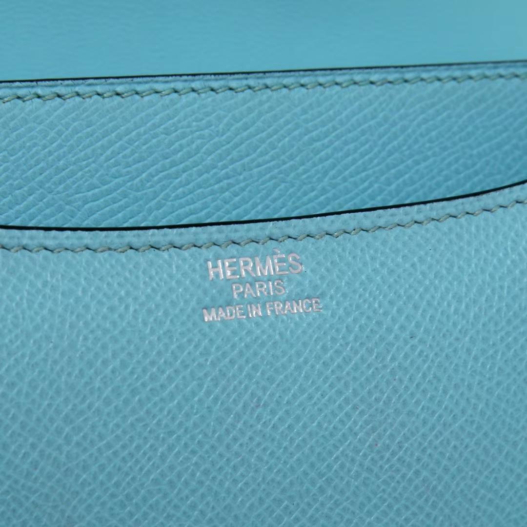 Hermès(爱马仕)Constace 空姐包 马卡龙蓝 epsom皮 银扣 23cm