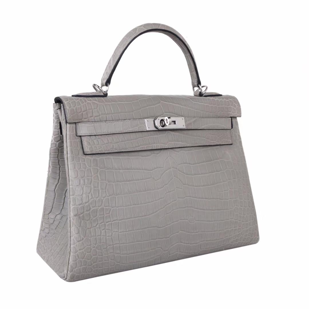 Hermès(爱马仕)Kelly 凯莉包 巴黎灰 内缝 尼罗鳄 哑光 银扣 28cm