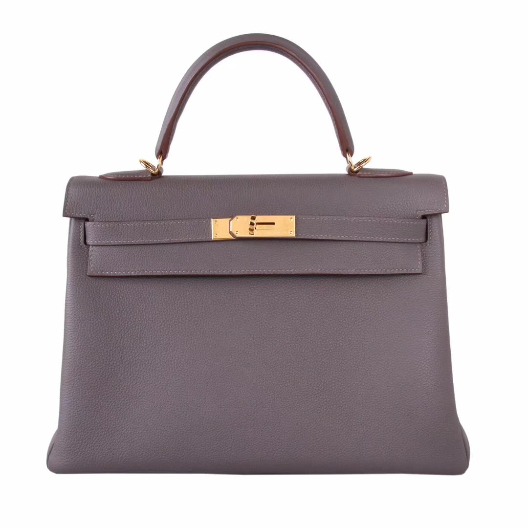 Hermès(爱马仕)Kelly 凯莉包 8F锡器灰 togo 金扣 32cm