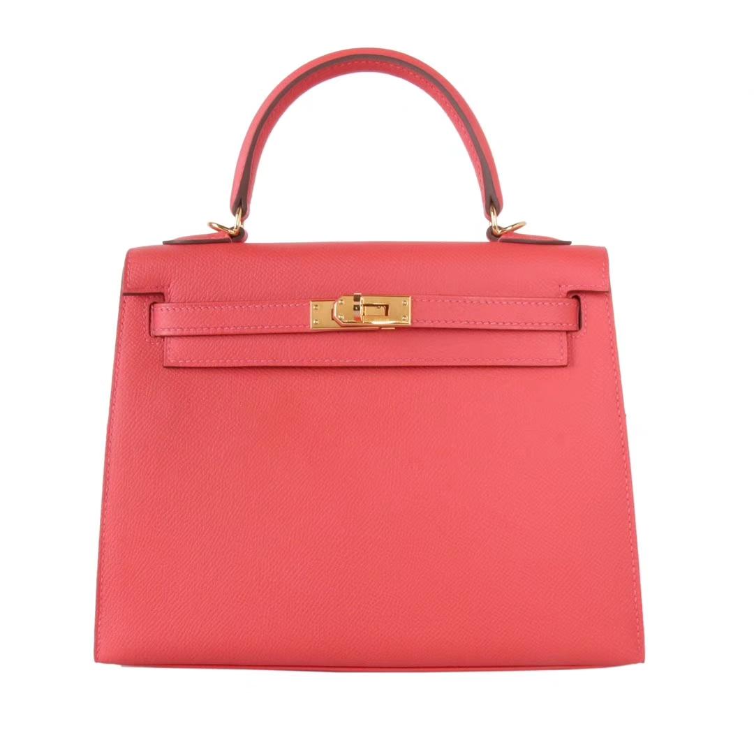Hermès(爱马仕)Kelly 凯莉包 T5斋普洱粉 Epsom皮 金扣 28cm