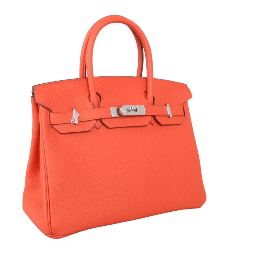 Hermès(爱马仕)birkin 铂金包 火焰橙 Togo 银扣 30cm