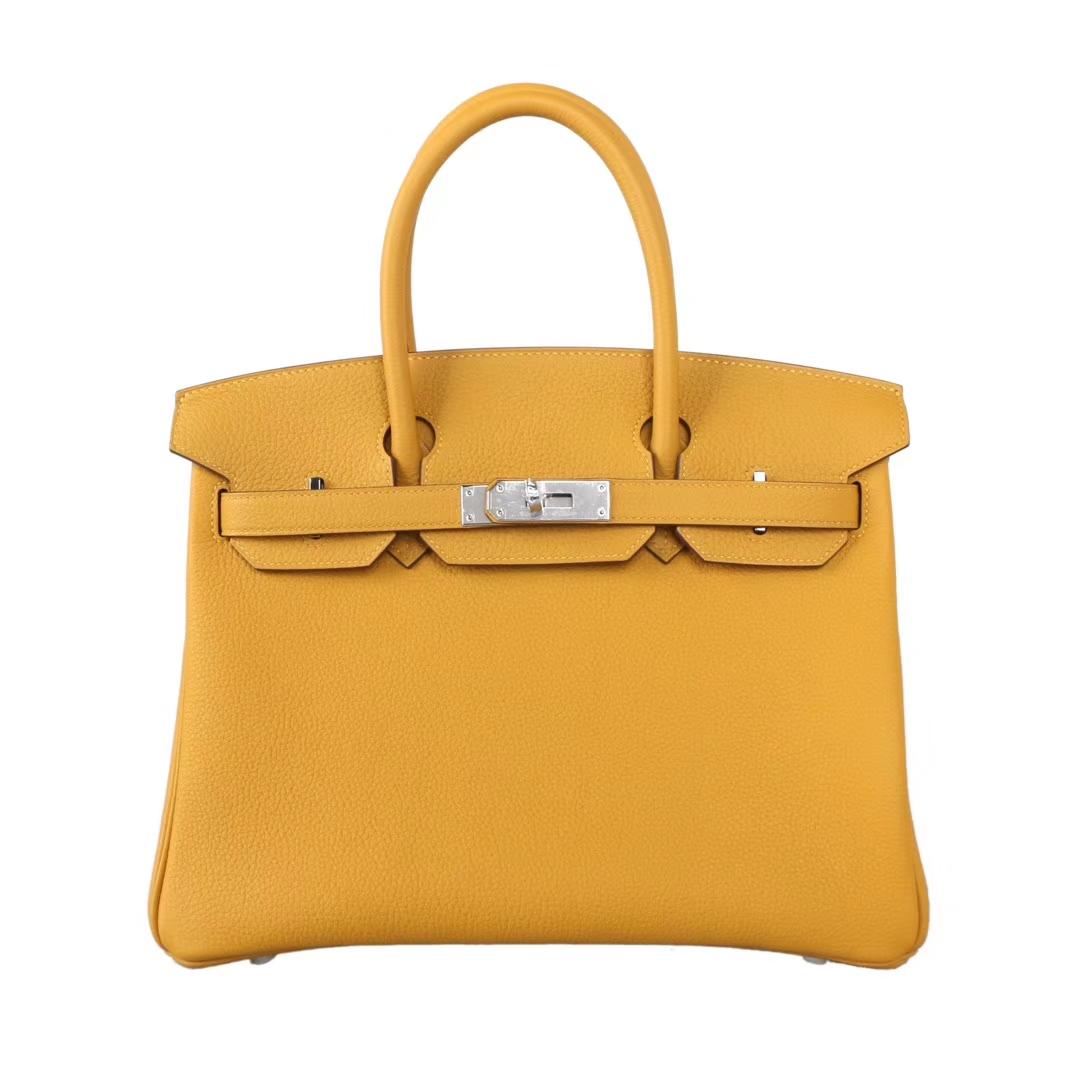 Hermès(爱马仕)birkin 铂金包 琥珀黄 Togo 银扣 25cm