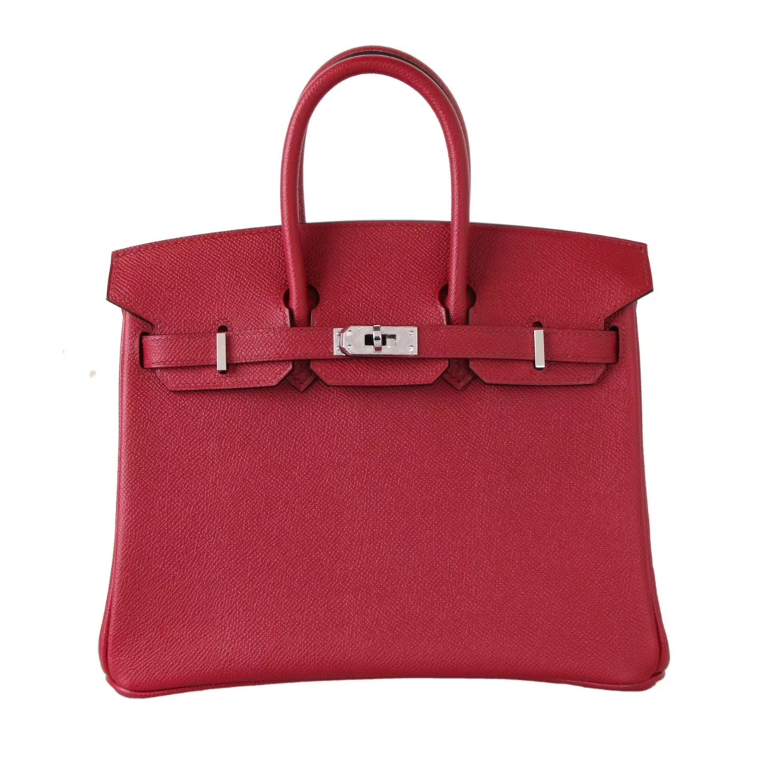 Hermès(爱马仕)birkin 铂金包 石榴红 Epsom皮 银扣 25cm