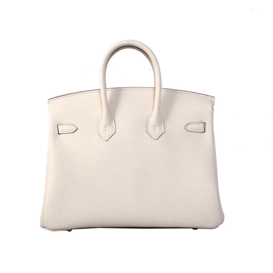 Hermès(爱马仕)birkin 铂金包 奶昔白 Togo 金扣 25cm