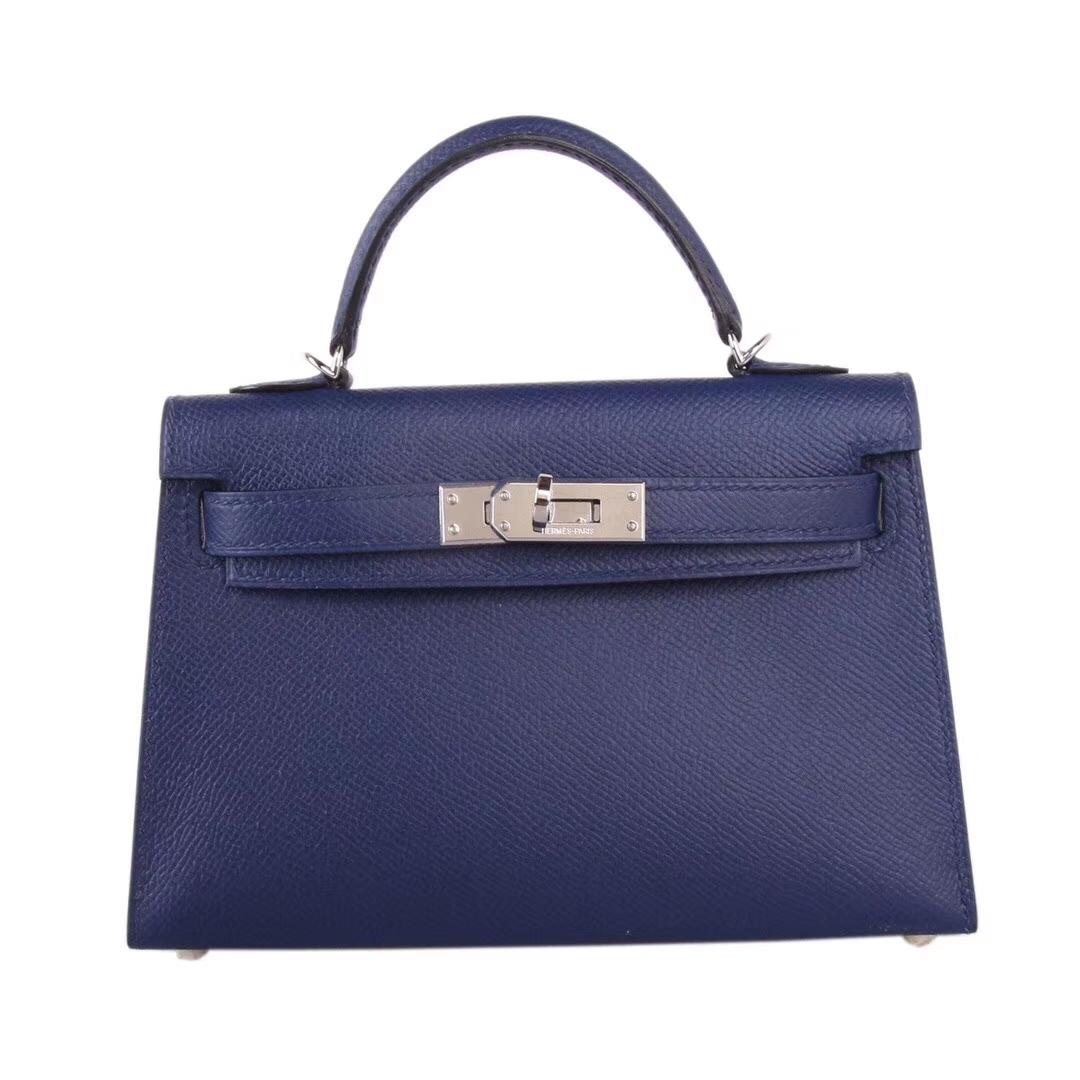 Hermès(爱马仕)mini Kelly 迷你凯莉 宝石蓝 银扣 Epsom皮 2代