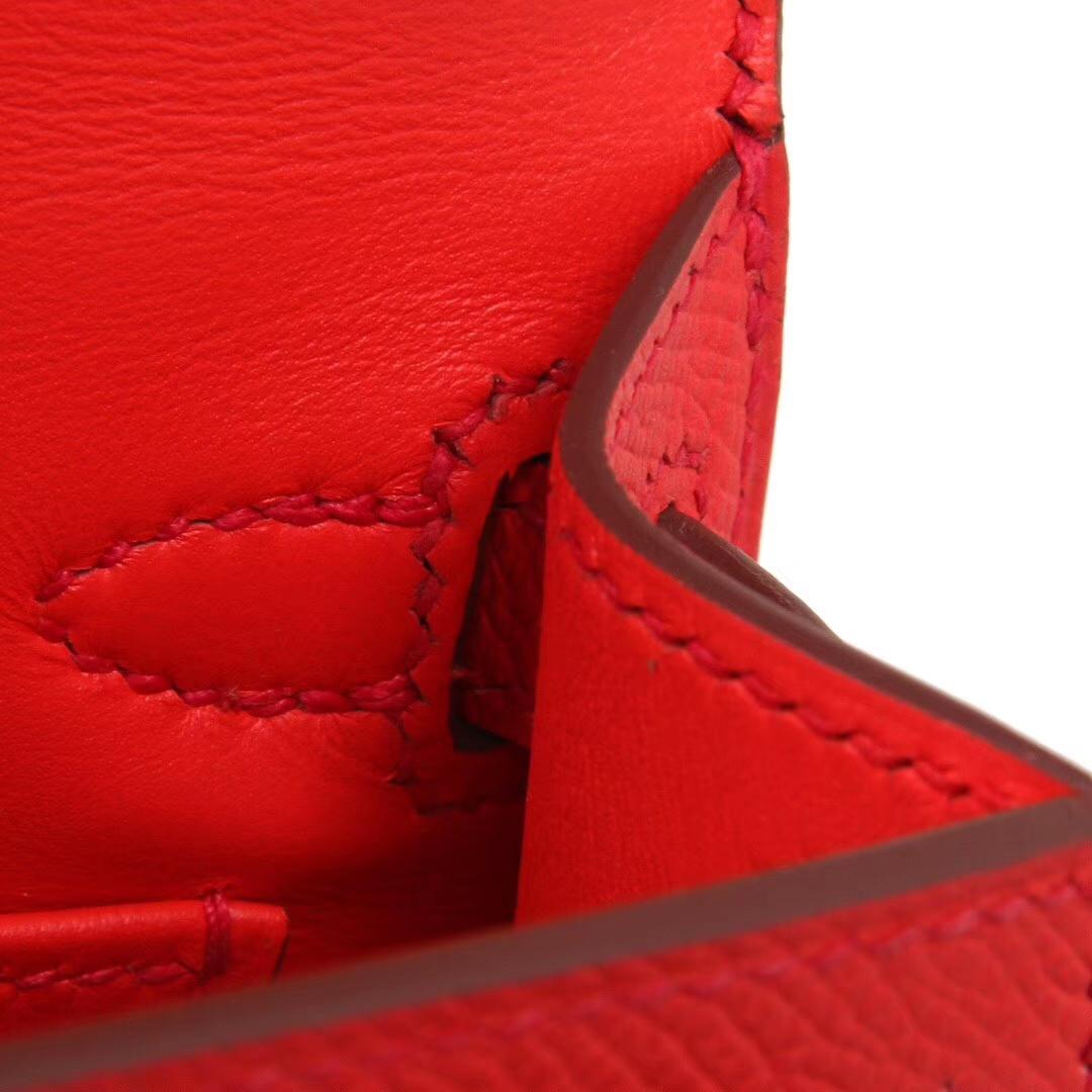 Hermès(爱马仕)mini Kelly 迷你凯莉 番茄红 金扣 Epsom皮 2代