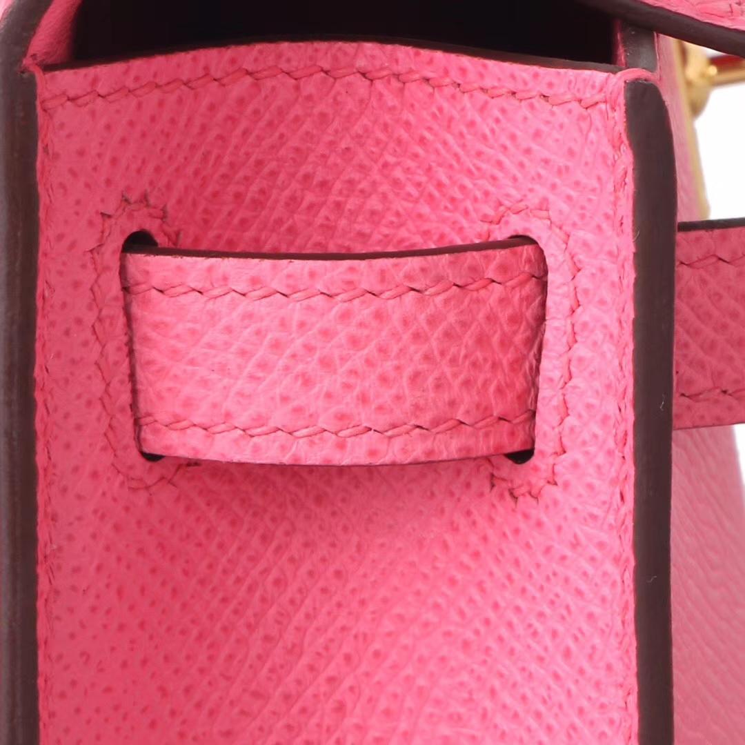 Hermès(爱马仕)mini Kelly 迷你凯莉 新唇膏粉  山羊皮 金扣 2代