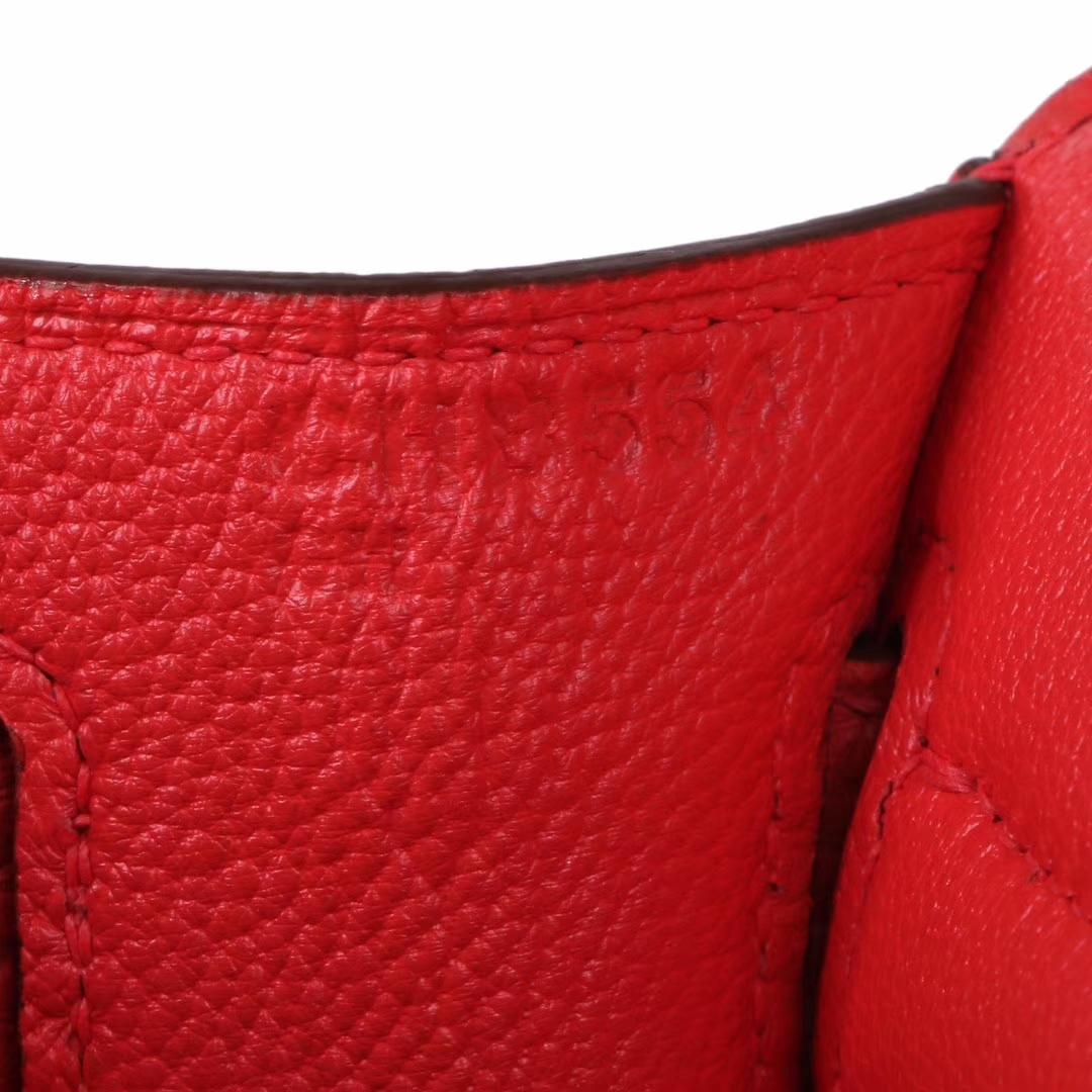 Hermès(爱马仕)Jypsiere吉普赛 28银 S5番茄红 togo