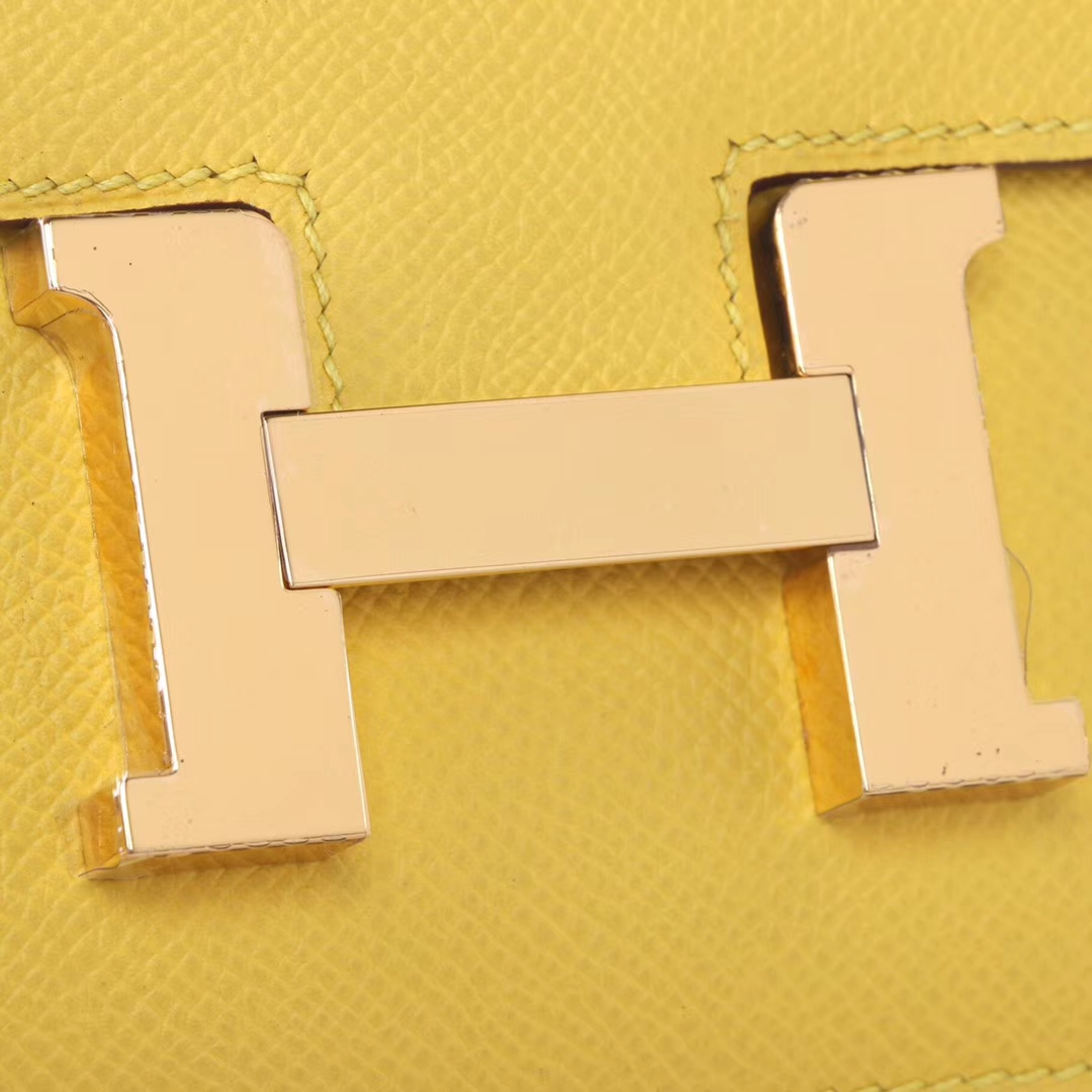 Hermès(爱马仕)Constace 空姐包 19cm 9O那不勒斯黄 epsom