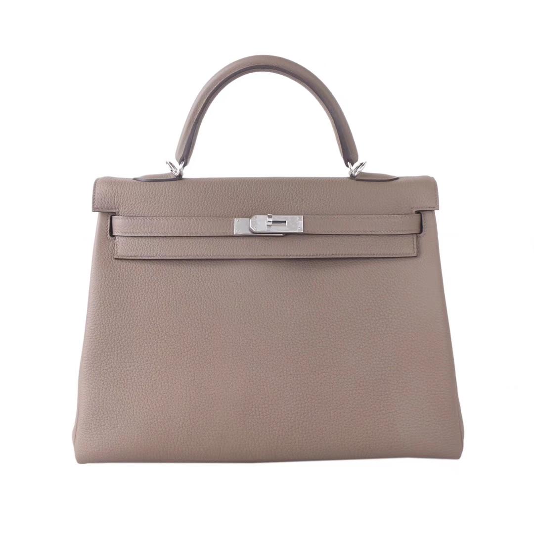 Hermès(爱马仕)Kelly 凯莉包 沥青灰 Togo 银扣 32cm