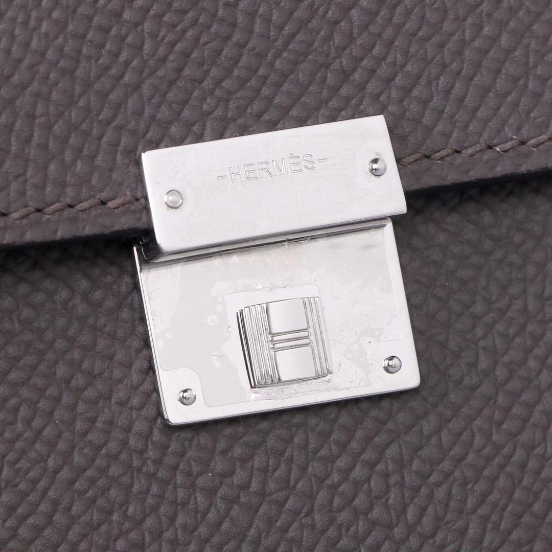 Hermès(爱马仕)clic 16cm 银扣 8F锡器灰 epsom