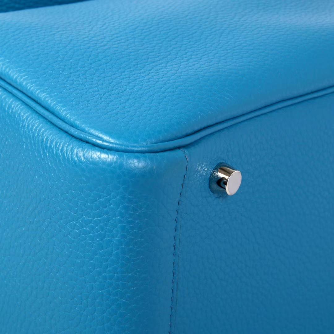 Hermès(爱马仕)Lindy 琳迪包 伊兹密尔蓝 togo 银扣 30cm