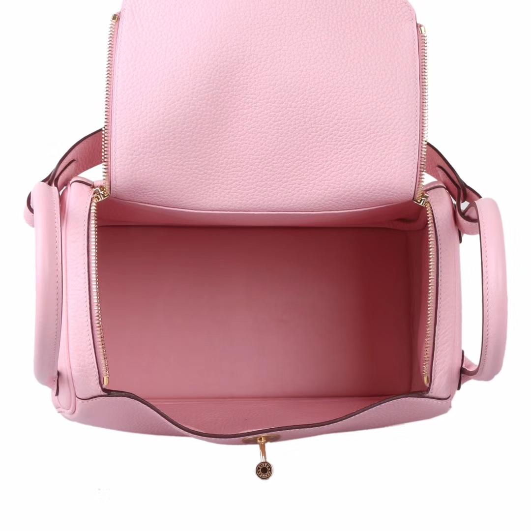 Hermès(爱马仕)Lindy 琳迪包 水粉色 togo 金扣 30cm