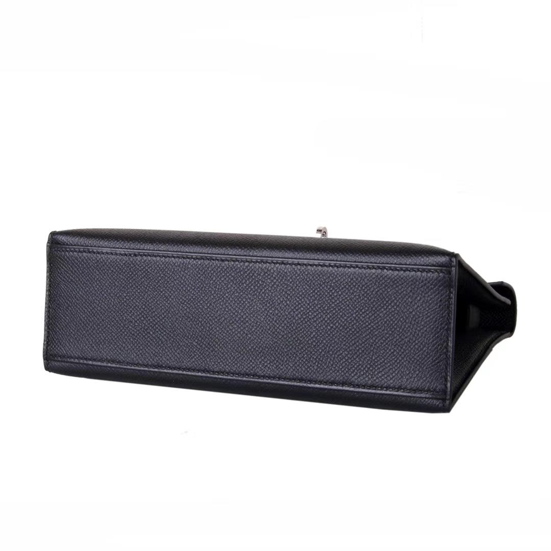 Hermès(爱马仕)miniKelly 一代 22cm 黑色 银扣 Epsom皮