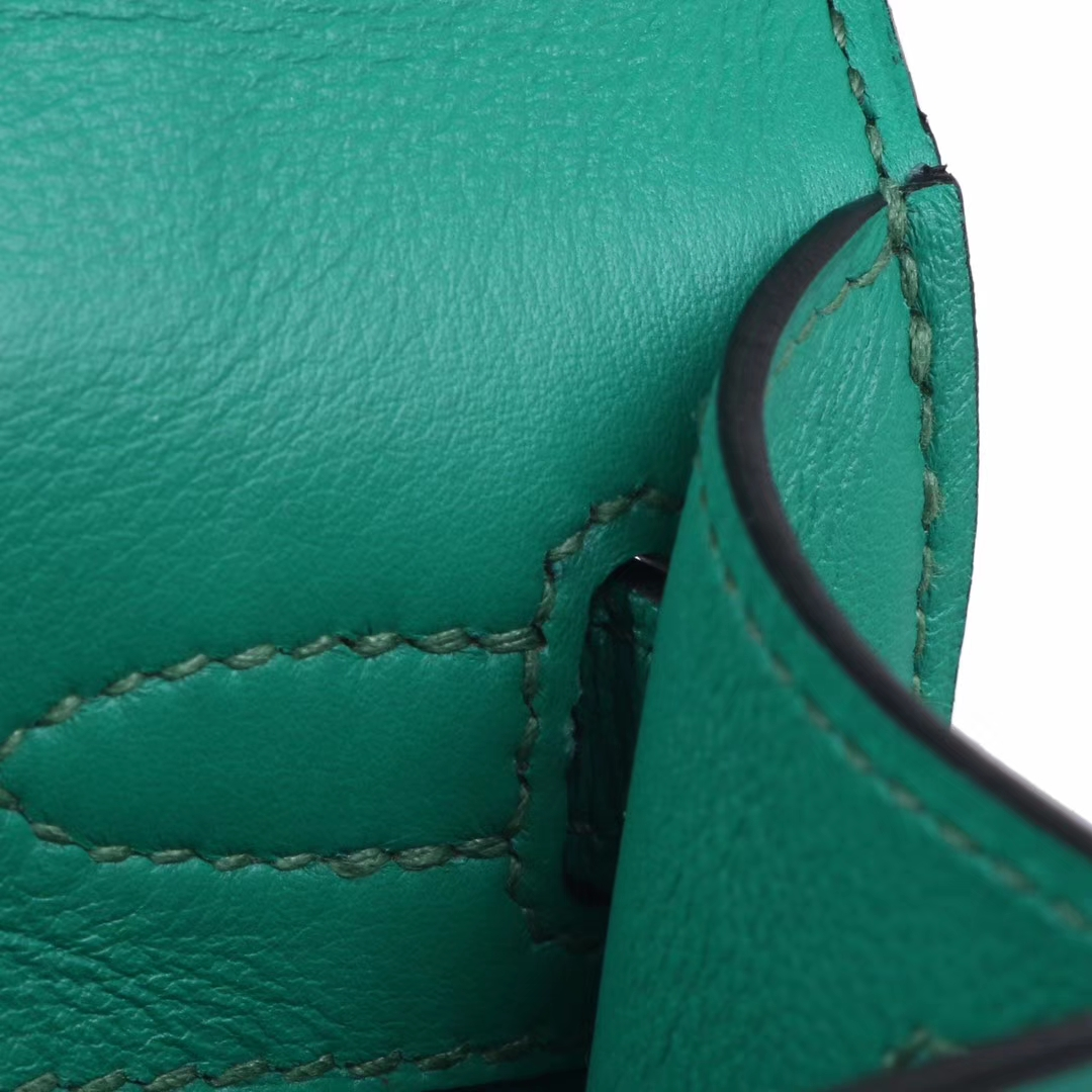 Hermès(爱马仕)miniKelly 一代 22cm  丝绒绿  金扣  swift皮