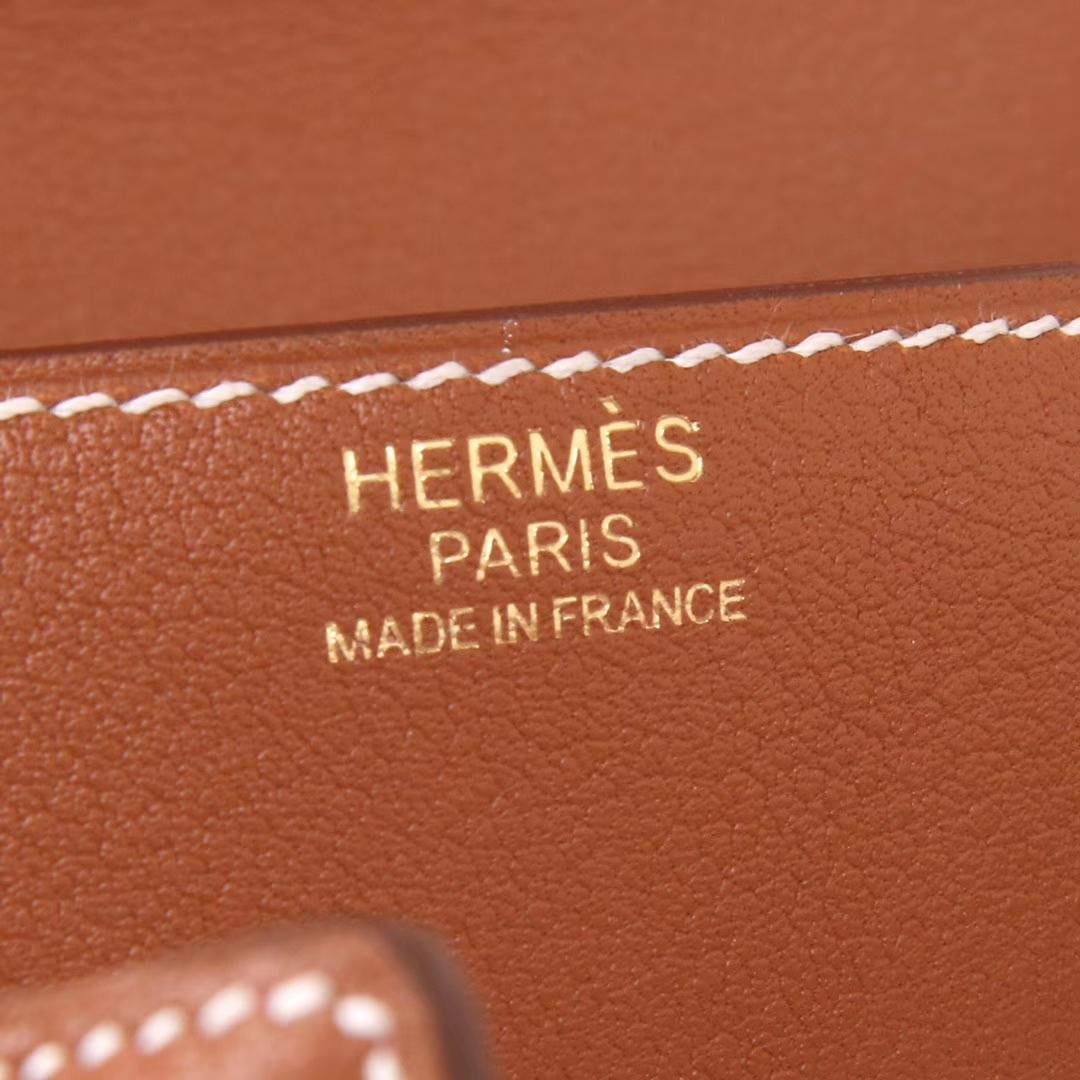 Hermès(爱马仕)kelly doll 金棕色拼火焰红 金扣 swift皮