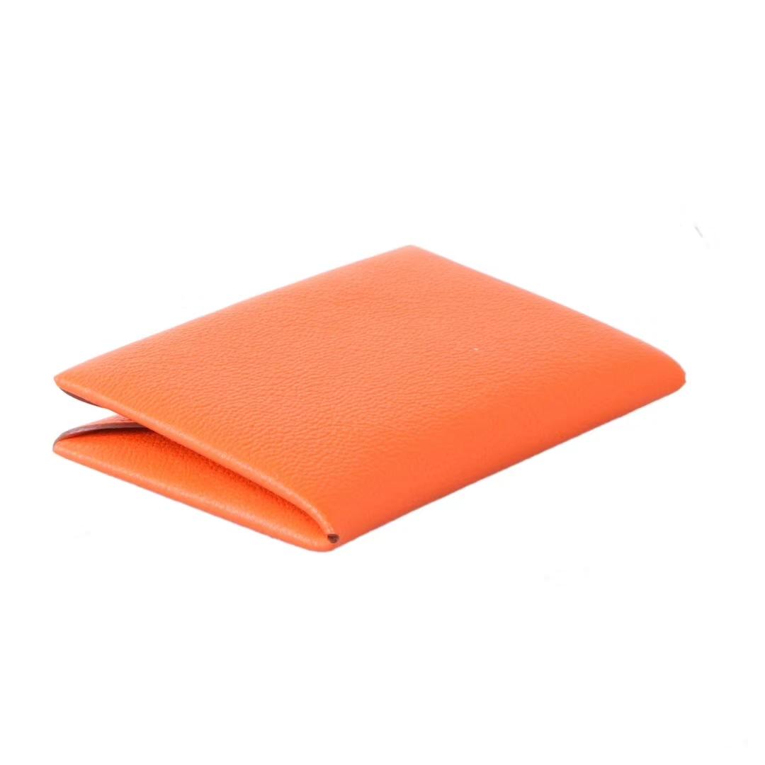 Hermès(爱马仕)信封卡包 橙色 山羊皮