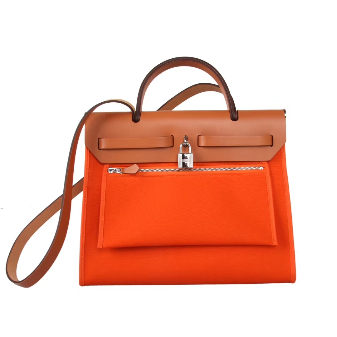 Hermès(爱马仕)herbag 31cm 驼色拼橙色帆布