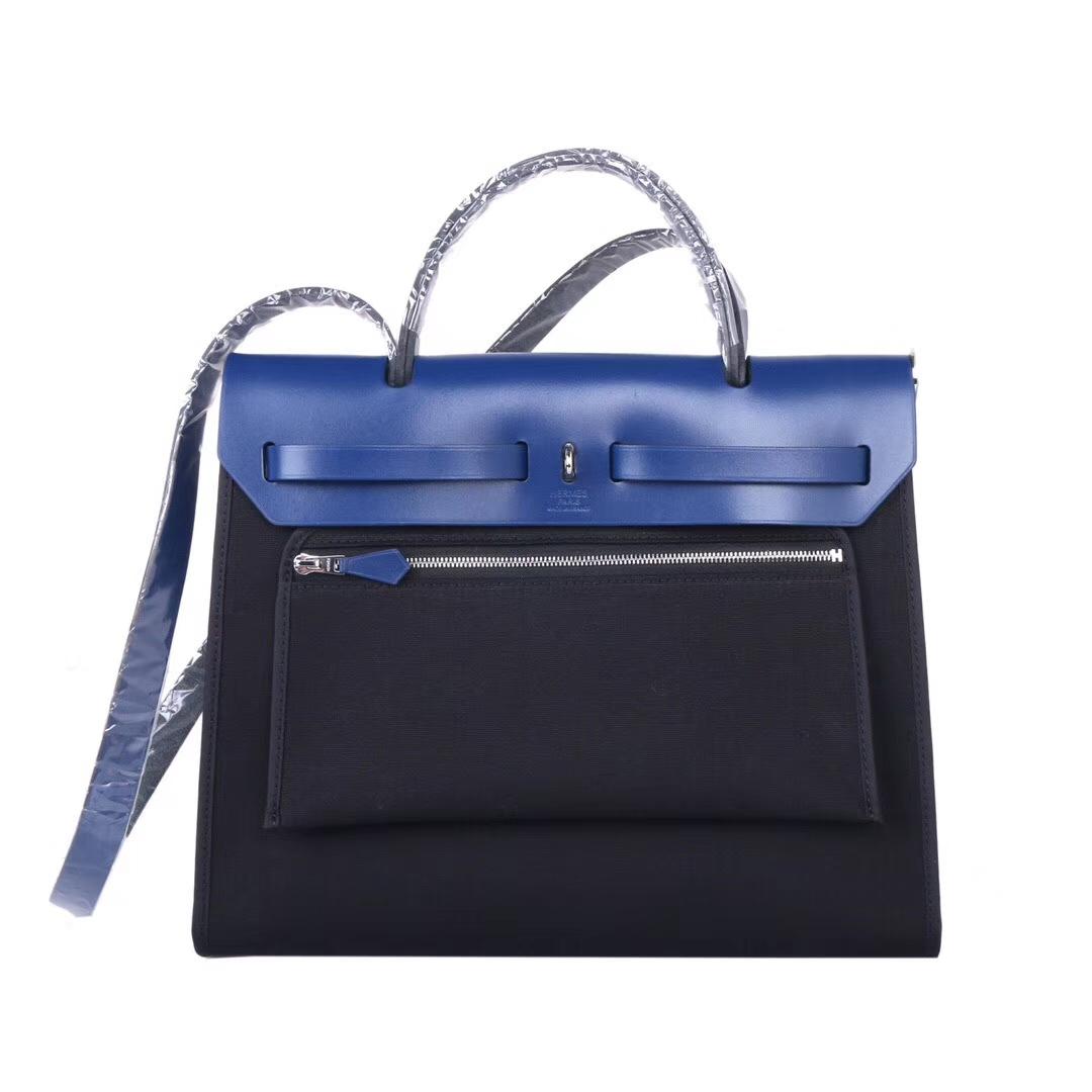 Hermès(爱马仕)herbag 31cm 电光蓝马鞍皮拼 黑色帆布