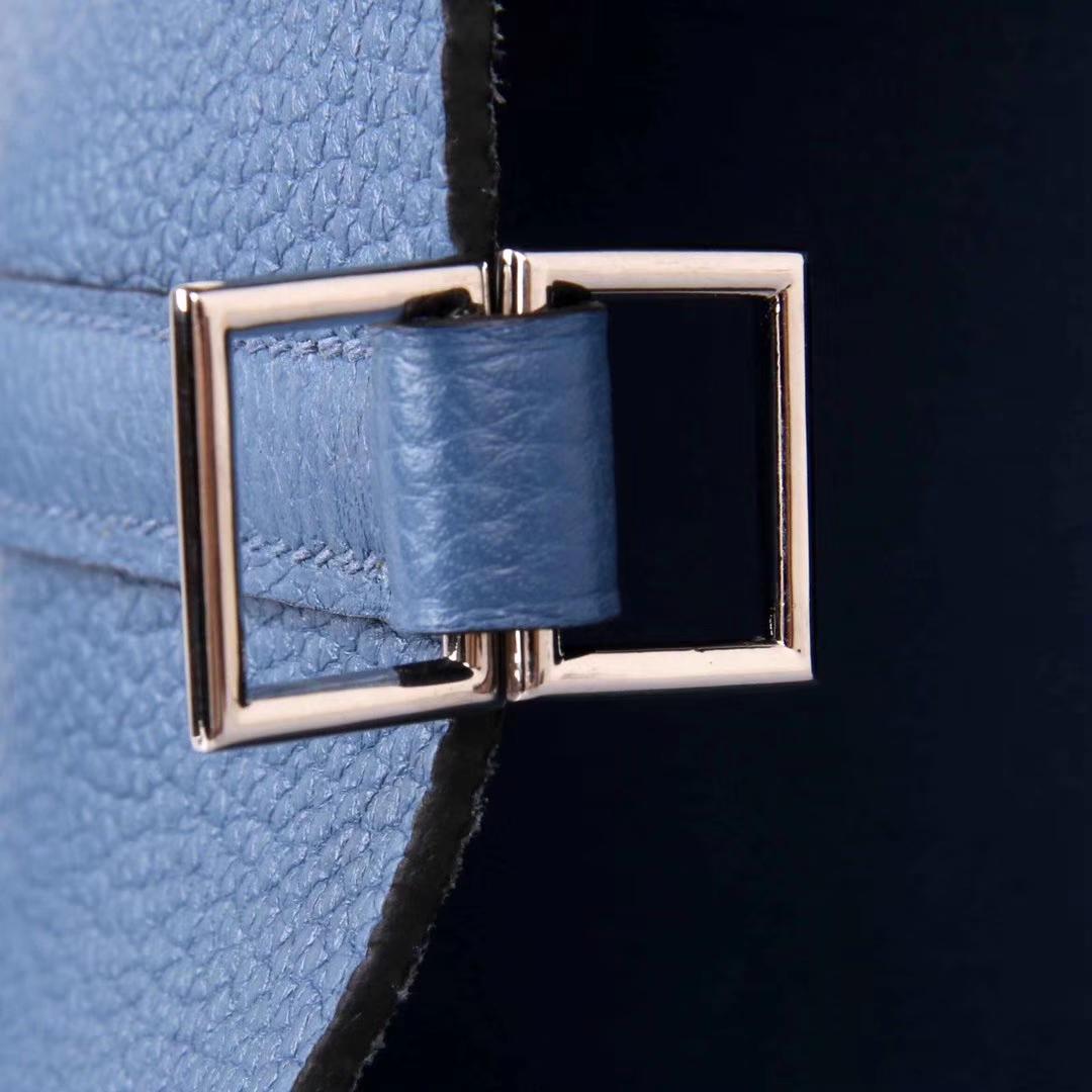 Hermès(爱马仕)Picotin 菜篮包 玛瑙蓝 Togo 银扣 22cm