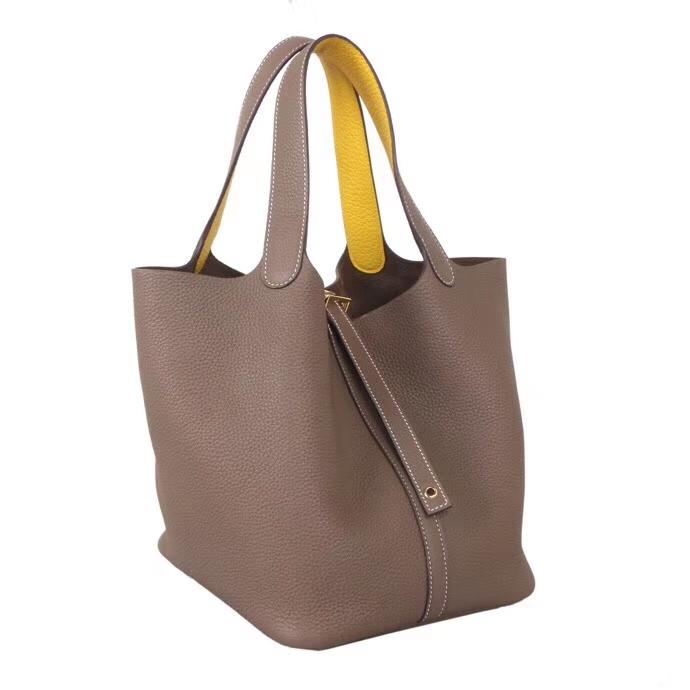 Hermès(爱马仕)Picotin 菜篮包 CK18大象灰 手柄内拼9O那不勒斯黄 Togo 银扣 18cm