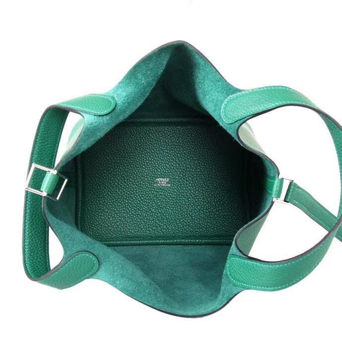 Hermès(爱马仕)Picotin 菜篮包 丝绒绿 Togo 银扣 18cm