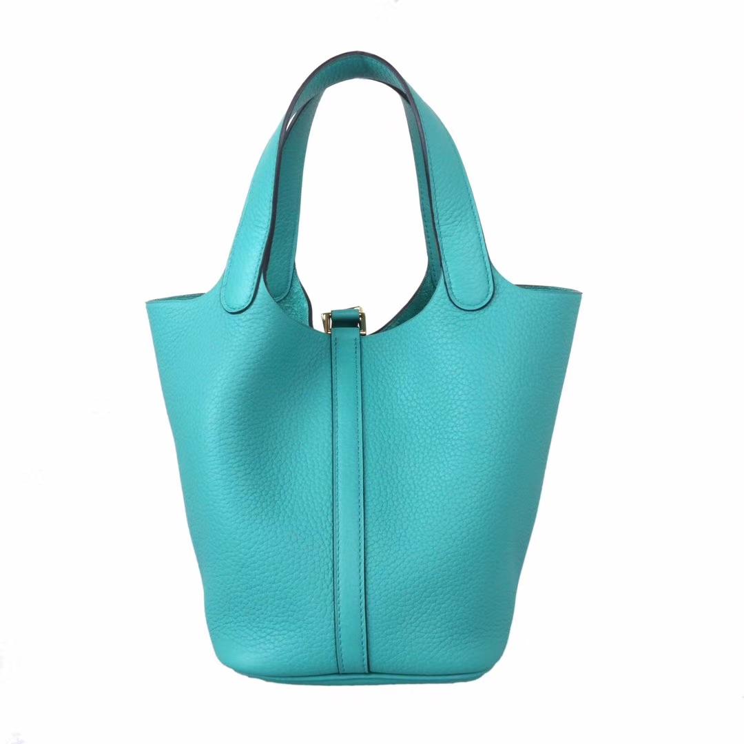 Hermès(爱马仕)Picotin 菜篮包 U1维罗纳绿 Togo 金扣 18cm