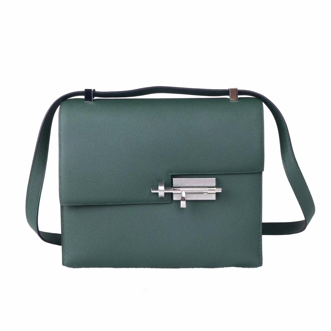 Hermès(爱马仕)Verrou 锁链包 21银 2Q英国绿  epsom皮