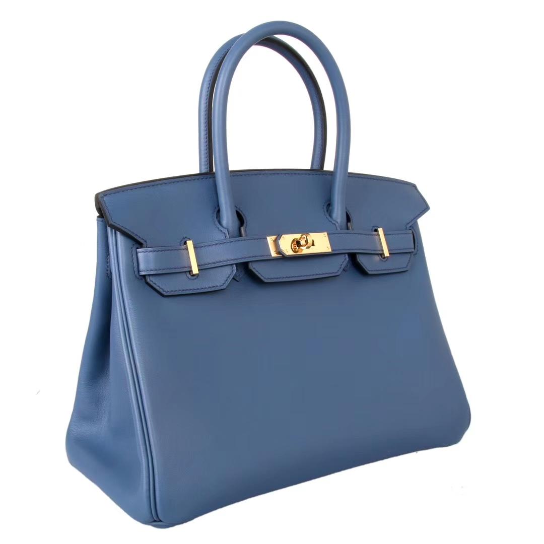 Hermès(爱马仕)Birkin 铂金包 珊瑚蓝 Epsom皮 金扣 30cm