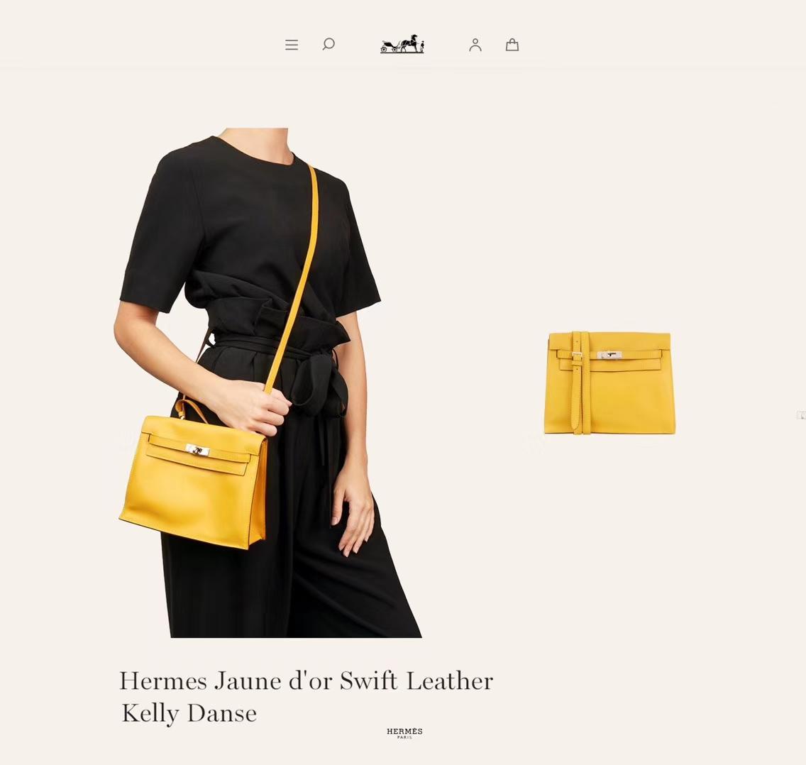 Hermès(爱马仕)kelly danse 跳舞包 柠檬黄 swift皮 银扣 22cm