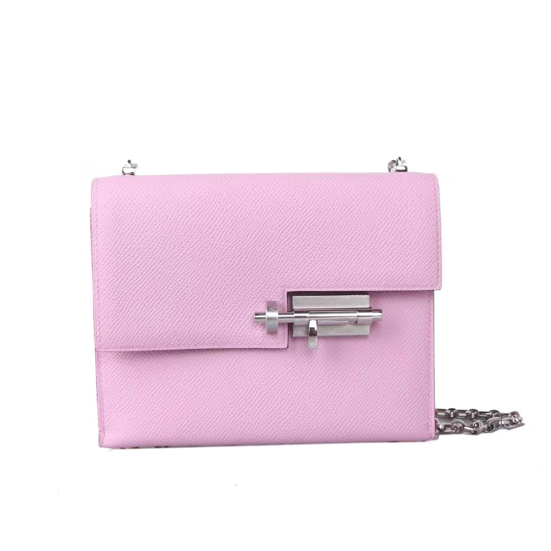 Hermès(爱马仕)Verrou锁链包 X9锦葵紫 Epsom皮 银扣 17cm