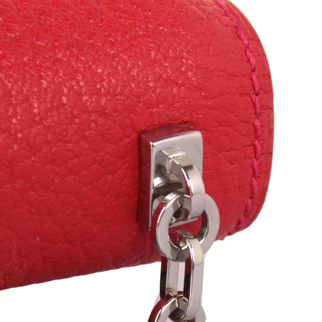 Hermès(爱马仕)Verrou锁链包 中国红 羊皮 银扣 17cm