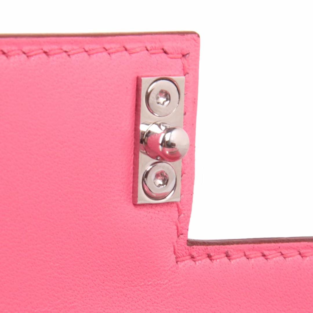 Hermès(爱马仕)Verrou锁链包 唇膏粉 羊皮 银扣 17cm