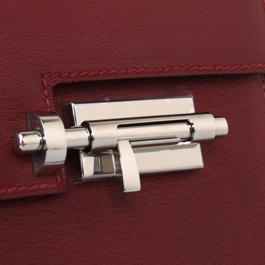Hermès(爱马仕)Verrou 锁链包 爱马仕红 羊皮 银扣 17cm