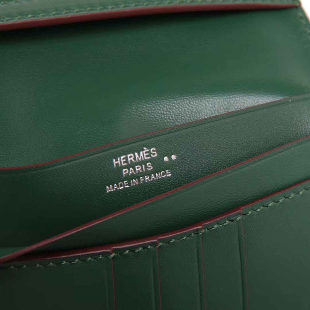 Hermès(爱马仕)Bearn 小H扣 短夹 银扣 翡翠绿 鳄鱼皮