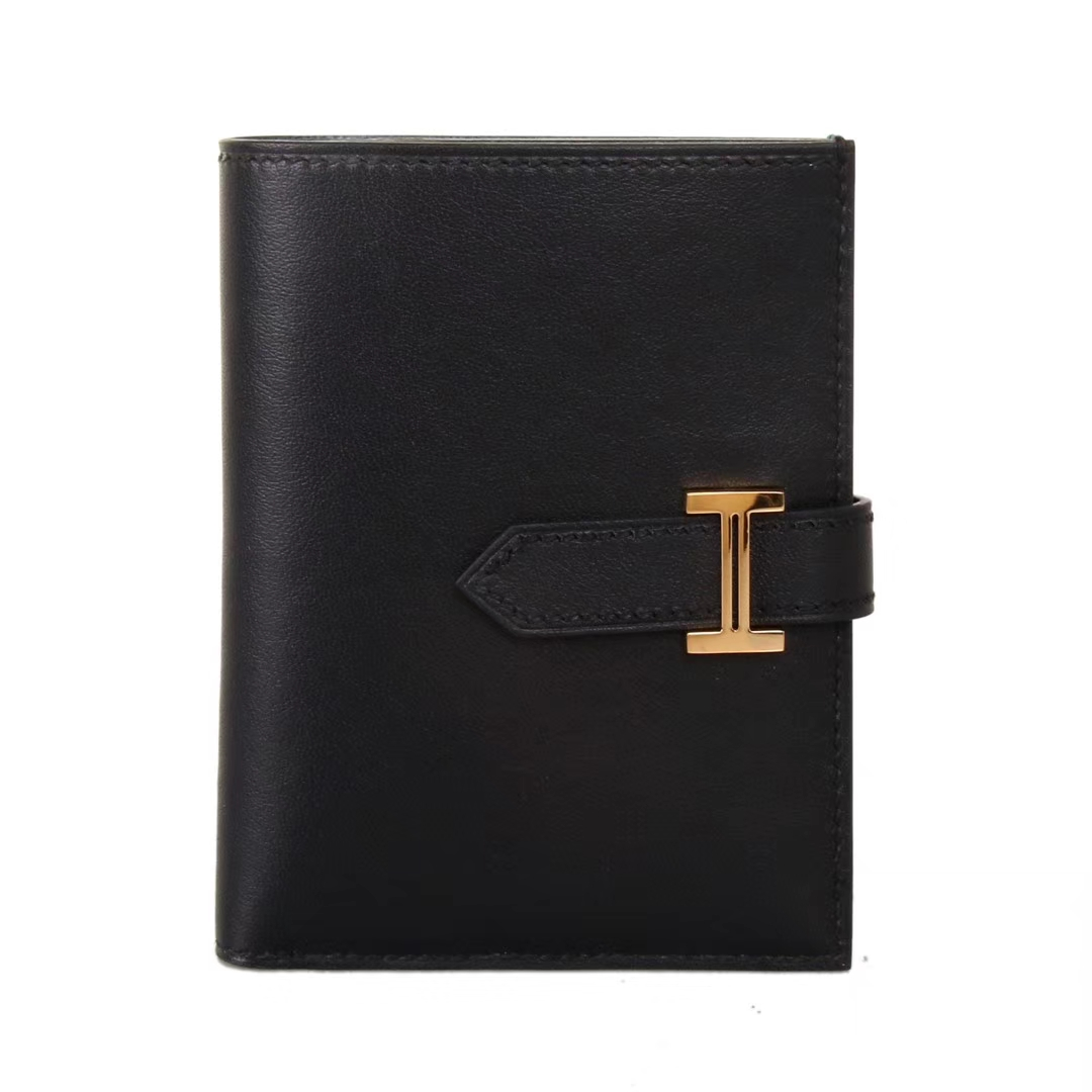 Hermès(爱马仕)Bearn 小H扣 短夹 黑色内拼孔雀绿 swift皮