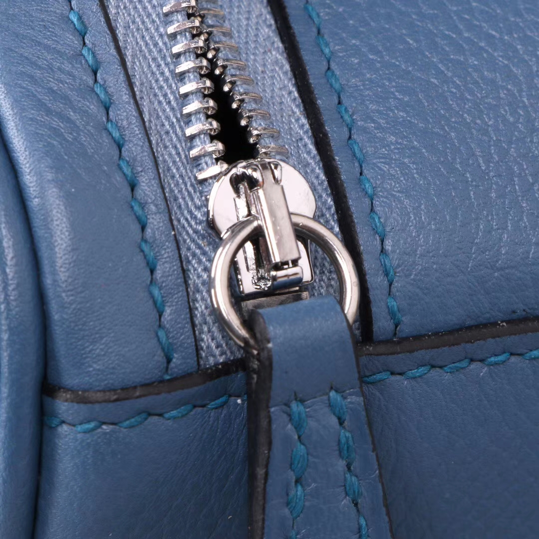 Hermès(爱马仕)lindy 30 银 布莱顿蓝  evercolor皮