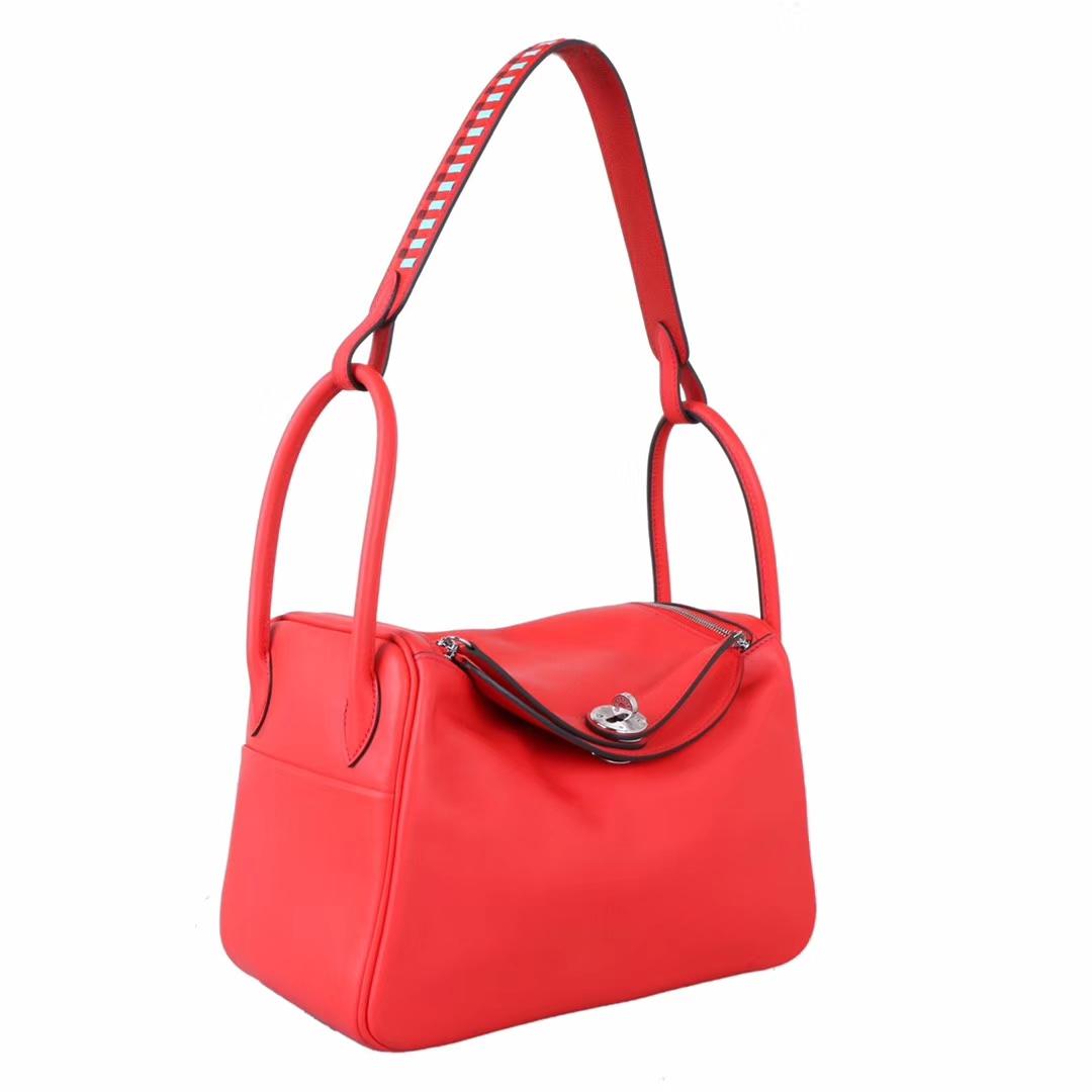 Hermès(爱马仕)lindy 26 银 中国红swift 编辑肩带