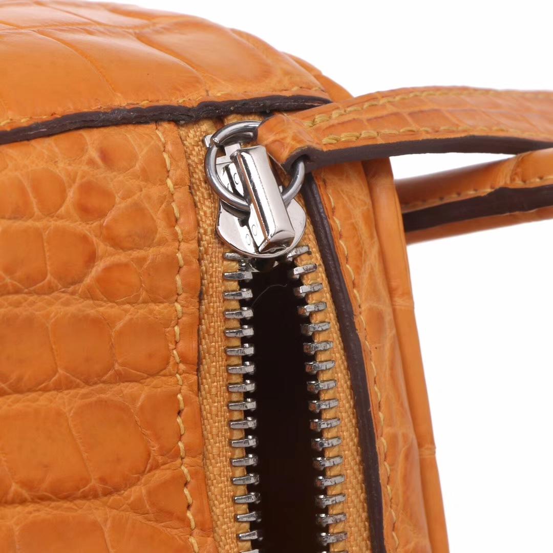 Hermès(爱马仕)lindy 26 银 9D琥珀黄 鳄鱼哑光