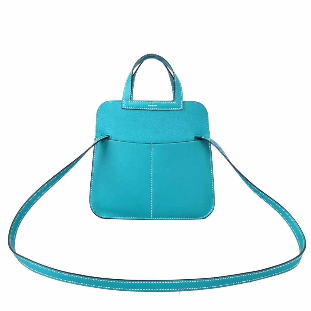 Hermès(爱马仕)Halzan mini 7F孔雀蓝 swift皮 22cm