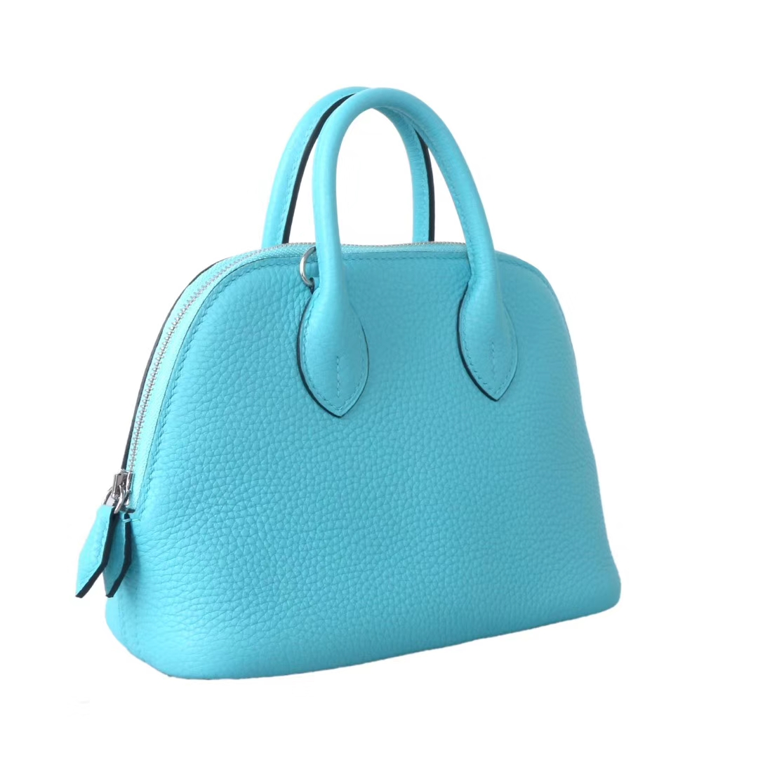 Hermès(爱马仕)mini Bolide 保龄球包 17 银扣  马卡龙蓝 Togo