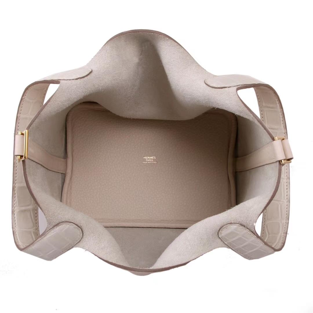 Hermès(爱马仕)Picotin 菜篮包 奶油白拼同色哑光鳄鱼 金扣 18cm