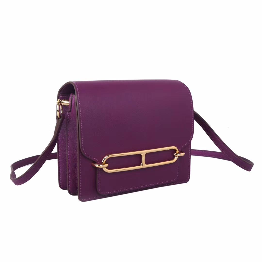 Hermès(爱马仕)roulis 猪鼻包 P9海葵紫 evercolor 金扣 19cm