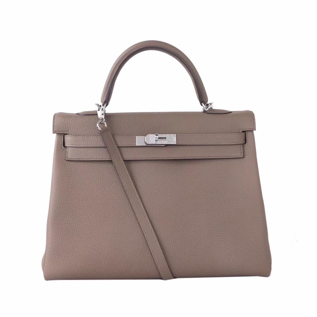 Hermès(爱马仕)Kelly 凯莉包 大象灰 togo 银扣 35cm