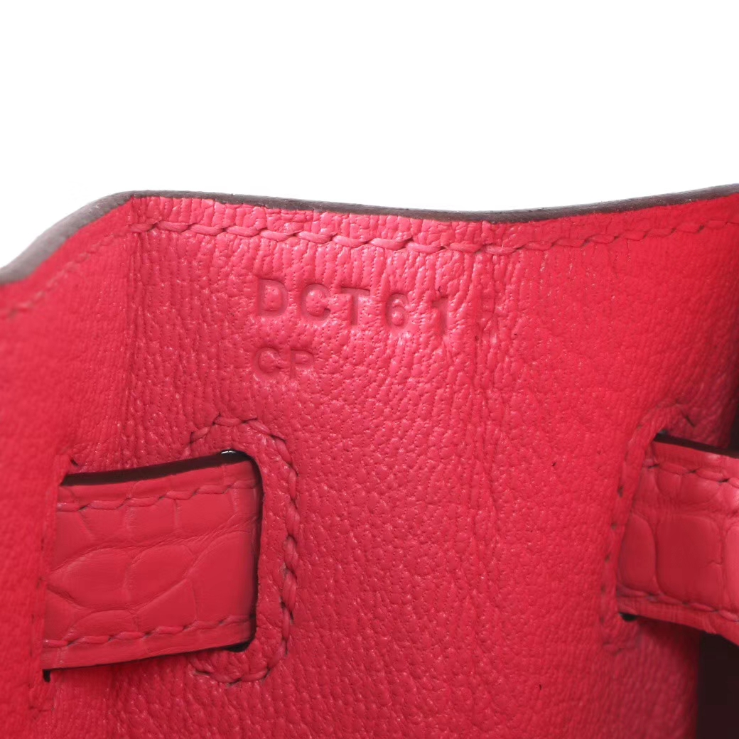 Hermès(爱马仕)Birkin 铂金包 杜鹃红 雾面鳄鱼 银扣 25cm
